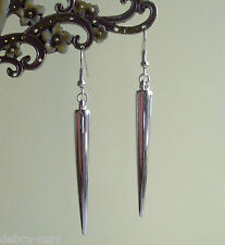 Long Silver Spike Dangly Drop Earrings - Gothic Punk Rock Chick