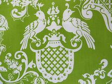 French Country Damask Window Valances Apple Green PAIR 100% Cotton Peacocks