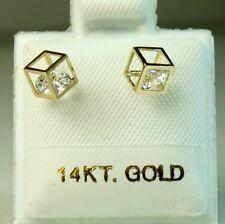 Screw back 14k solid yellow gold Cubic modern stud earrings 0.6gram