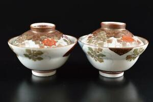 #3326: Japanese Old Kutani-ware Gold paint Flower Muffle painting Lid bowl 2pcs