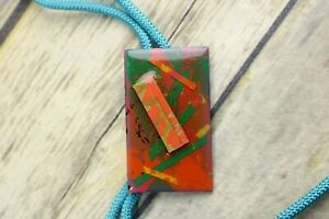 Abstract Art Bolo Tie OOAK Artist Signed Collage Orange Light Blue AW Montage