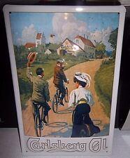 CARLSBERG CYCLING GIRL: EMBOSSED STEEL/METAL  ADVERTISING SIGN 30X20cm BAR/PUB