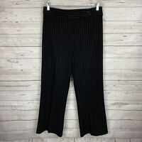 Comfy USA Womens Trouser Pants Size Medium Black White Pinstripe Polyester Blend