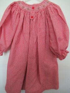 (S) Girls Vive La Fete Red and White Long Sleeve Smocked Deess Size 2