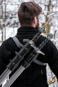 Larp Waffenhalter - Doppel Rückenschwerthalter aus Vollnarbenleder  Epic Armoury