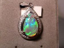 Brilliant Natural Australian Gem AAA+++ Opal Diamond 14k White Gold Pendant
