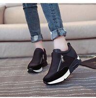 New Casual Women's Sneakers Zip Wedge Hidden Heel Running Sport Shoes