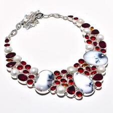 Dendrite Opal,Garnet,Pearl Gemstone Handmade Necklace 130 Gms RBN-1724