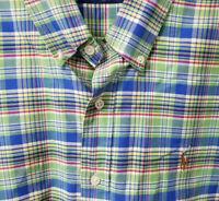 Ralph Lauren Polo Long Sleeve Button Front Shirt Mens L Large Blue / Green Plaid