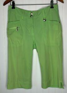 Daily Sports Women's Sz 6 Green Nylon Golf Capri Crop Pants Stretch Ball Marker