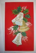 Chiming Bells with holly Christmas Vintage Greeting Card *H