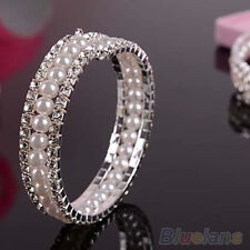 Charming 2 Rows Rhinestone Faux Pearls Bridal Wedding Crystal Bangle Bracelet