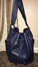 Banana Republic Women's Blue Leather Sack Shoulder Purse Handbag