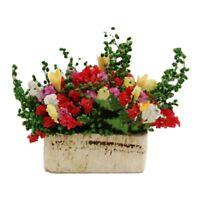 1/12 Dollhouse Miniature Multicolor Flower Bush With Wood Pot T4U2