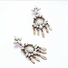 Rose & Peony British Fashion Earrings White Bronze Dangling Cream