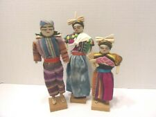 3 Handmade Ethnic International Fabric Doll Lot