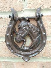HORSE SHOE & HEAD DOOR KNOCKER CAST IRON WALL MOUNTED HOUSE GARDEN STABLES FARM