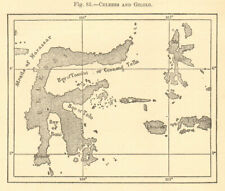 Celebes and Gilolo. Indonesia. Sulawesi. Sketch map 1886 old antique chart