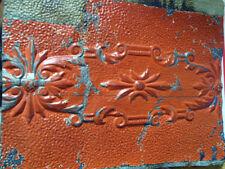 SALE  Antique Ceiling Tin Tile Shabby Chic Pumpkin Cabinet Door Primitive Canvas