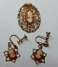 Cameo Pendant & Earrings Filigree Screw Vintage 50s D.E.C 14K Gold Filled Coral