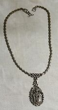 """Vintage Barclay Silvertone Metal Ornate Coat of Arms Oval Pendant 17"""" Necklace"""