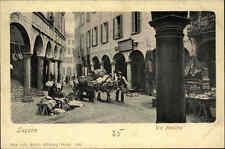 Lugano ~1900 Via Pessina seltene alte color Postkarte Schweiz Kanton Tessin