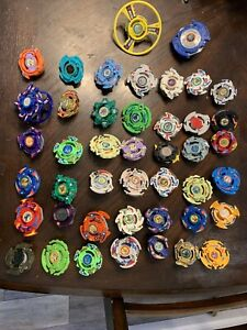 Vintage Beyblade Lot! 44 Total! Launchers, Extra Bit Chips and Ripcords Included