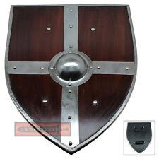 Banded Wooden Norse Viking Raider Wood Kite Shield Iron Boss LARP Cosplay Weapon