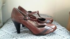 Next Leather Brown Mary Jane T Bar  Shoes Size 3