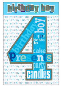 Four 4 Years Old, Birthday Card For Boy, Blue & Silver