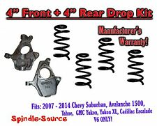 "2007 - 14 Drop Lowering Kit Chevrolet GMC 1500 SUV's 4"" Front / 4"" Rear V6 ONLY"