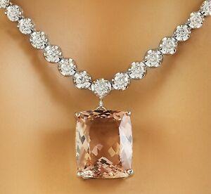 12.61 Carat Natural Morganite 18K White Gold Diamond Necklace