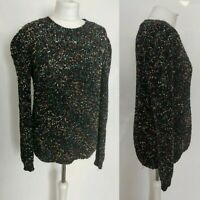 APRICOT Women's Jumper Knitted Black Multicolored Crew Neck Fluffy Soft M 12