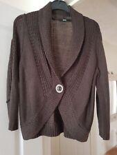 Marks & Spencer Mocha Waist Length Cardigan, 3/4 Sleeves, Size 14, VGC
