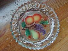 VINTAGE ART GLASS Stampato piatto con intaglio frutta tagliata e dipinti di base