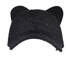 Lux Accessories Black Sequin Cat Ear Baseball Cap Dat Hat Trendy Hat for Girls