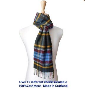 Pure Cashmere Classic Check Woven Scarf - Made in Scotland