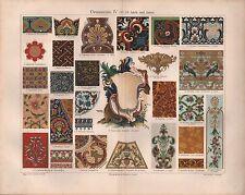 Chromo-Lithografie 1907: Ornamente IV (17./18. Jahrh. und Asien). Vasen Malerei