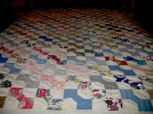 """Antique Vtg 1930s Quilt Bow Tie Handstitched Colorful Cotton Fabrics 68"""" x 77"""""""