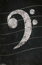 BASS CLEF - MUSIC NOTE POSTER 22x34 - CHALK 15347