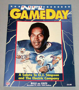November 21st. 1993 NFL GameDay Salute to O.J.Simpson Program Bull vs Colts