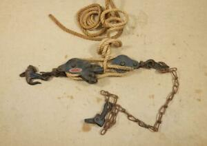 Antique Vintage Block & Pulley Double Rope Hoist by MOLINE IRON WORKS-Original
