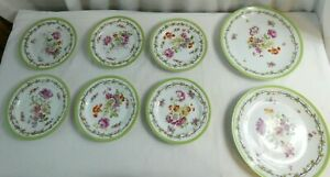 Set Of 2 Dinner Plates Set Of 6 Side Plates Floral Pattern on White, Green Edge