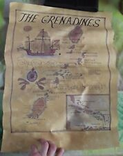 Ancienne Carte The Grenadines Caraïbes St Vincent Guadeloupe Dominica Martinique