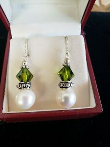 New white 10+ mm nat freshwater pearls and crystal drops on solid silver hooks