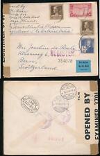 USA REGISTERED WW2 1941 BERMUDA CENSOR INTERCEPTION AIR MULTI FRANKING to BERN