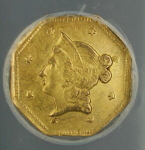 1853 California Fractional Octagonal $1 Gold Coin BG-519 ANACS AU-55 Scarce Type