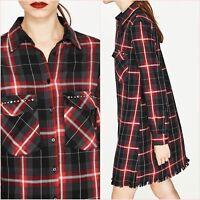 Zara Red Checked Long Sleeve Shirt Dress Size 6 8 10 12 14 XS S M L Blogger ❤
