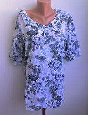 S.Oliver Tunika Bluse 42 weiß blau geblümt Schlupfbluse modern
