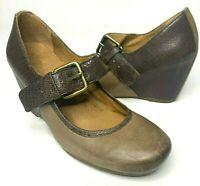 Naya Jacinta Anthropologie Taupe Brown Leather Mary Jane Wedge Shoes - Size 5 M